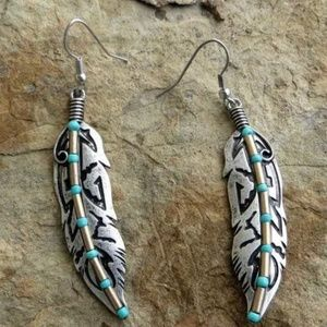 Boho Feather Dangle Turquoise Earrings Silver Tone